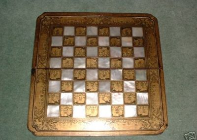 A 19th century Chinese mother of pearl /gold pen work squares. Reverse backgammon.