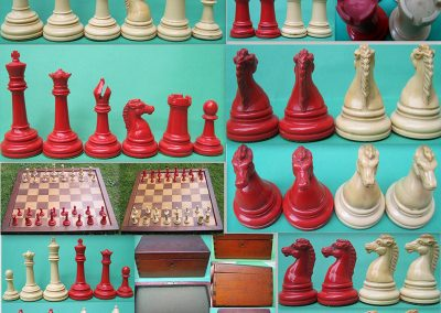 Collage of 1891 Xynolite Royal Chessmen size 5 and weighted