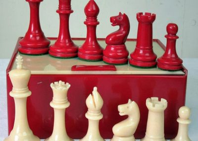 Weighted plastic chess set with board c.1950's