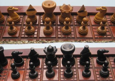 A British Chess Company blind man's chess set – late 19th century