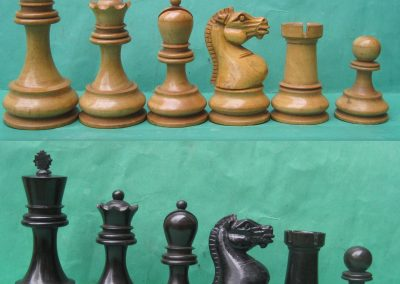 A BCC Staunton chess set with hand carved one piece (lizard) knights post 1900?