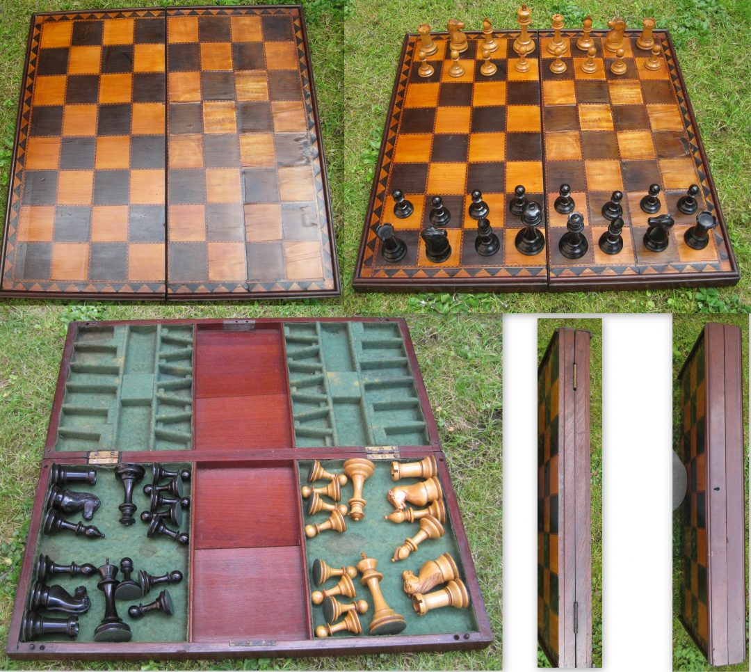 COLEMAN STAUNTON SET AND BOARD INCLUDING HOUSING FOR THE PIECES