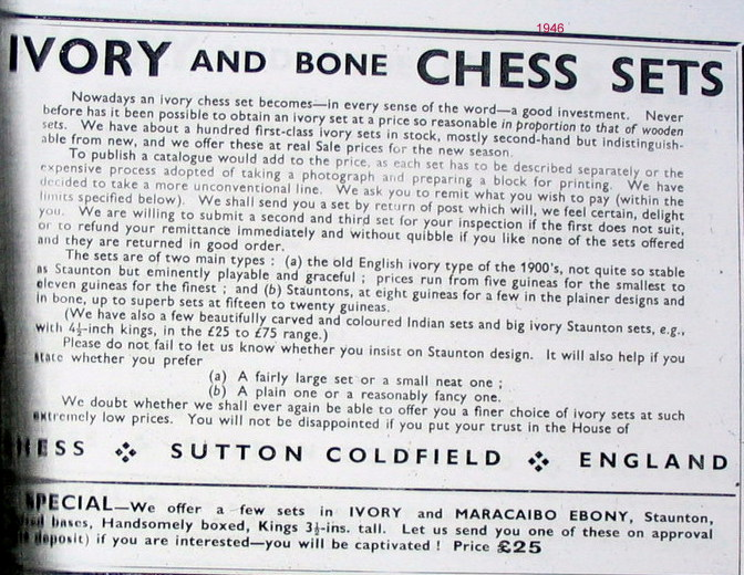 Post-1947 ivory ban chessmen