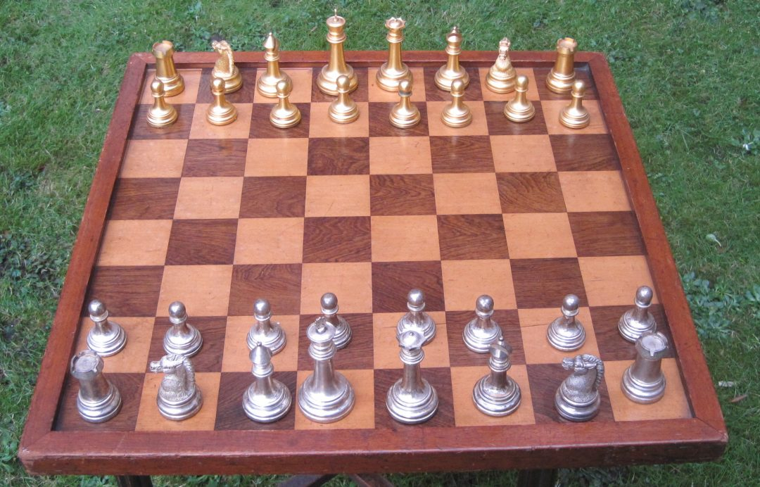 British Chess Company chess set with club size board 19th century