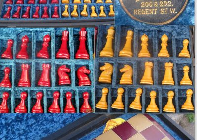 A cased Hamley's Staunton Catalin chess set c.1930's?