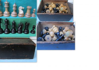 British Chess Company (BCC) Royal unweighted chess set with original sliding box c.1894