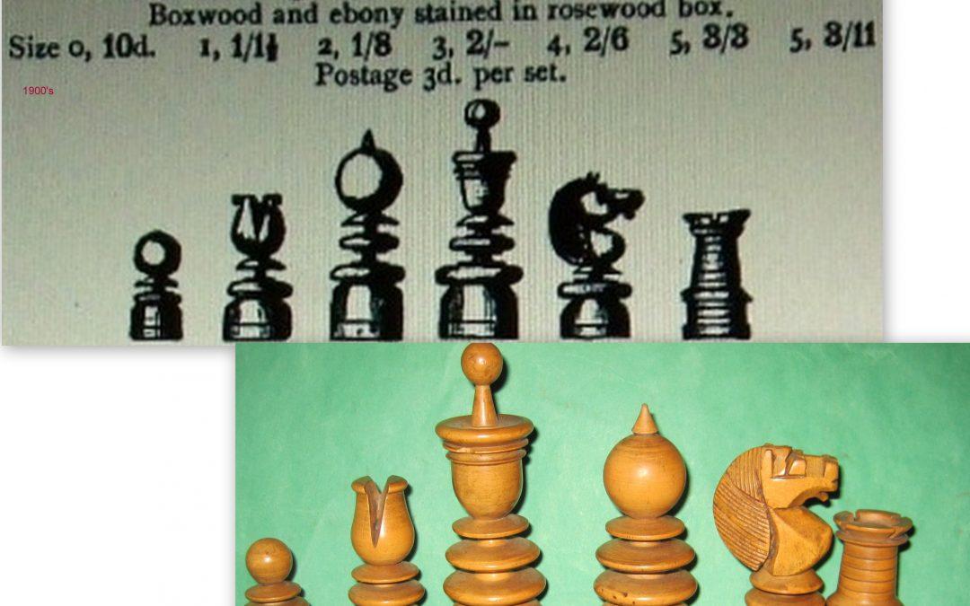 A Gamage St.George pattern boxwood /ebony chess set