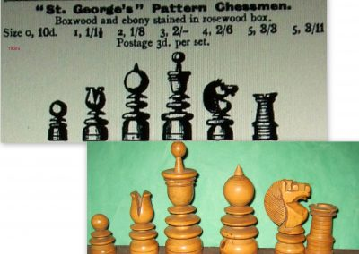 A Gamage St.George pattern boxwood /ebony chess set