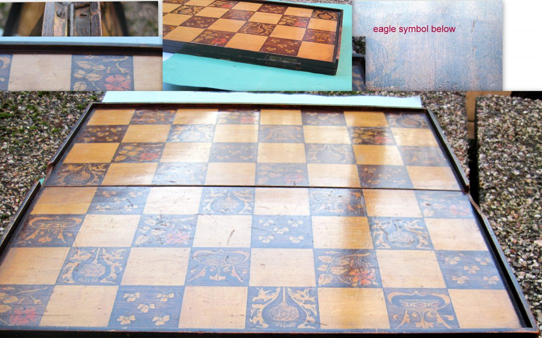 Arts & Crafts? late 19thC. hand-painted folding chessboard with thistle, shamrock, rose and crown design squares