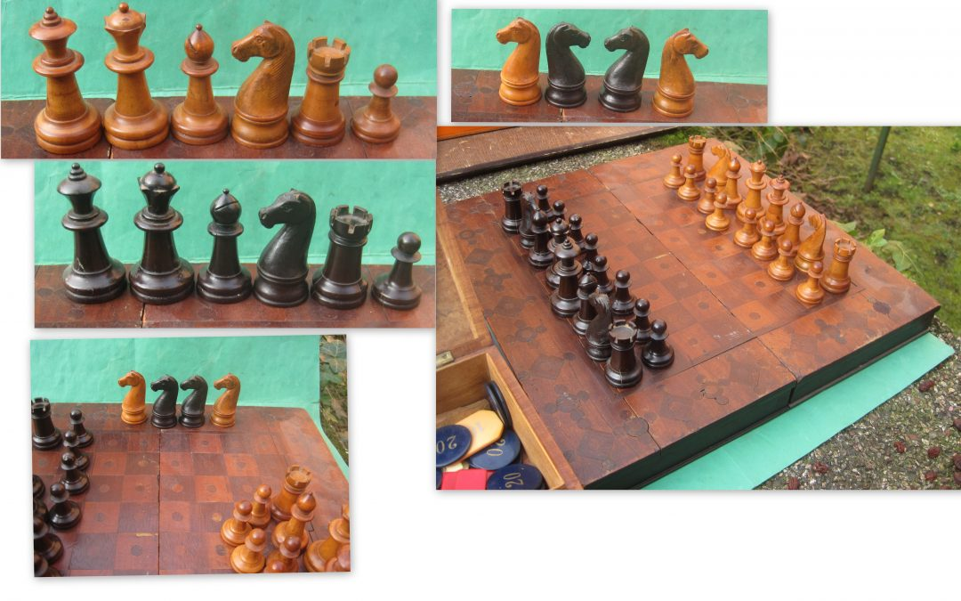 early American spiked finial king chess set
