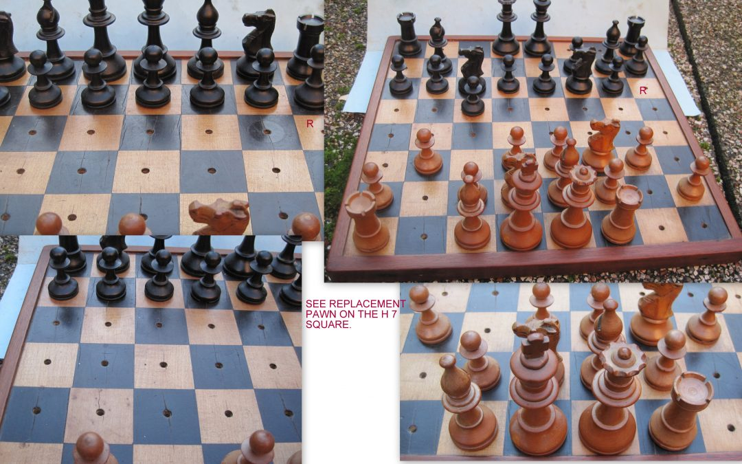Vintage French Staunton chess set & board