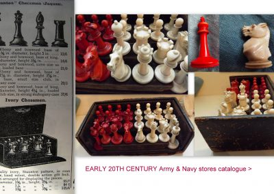 Small ivory Staunton chess set in a velvet lined display case