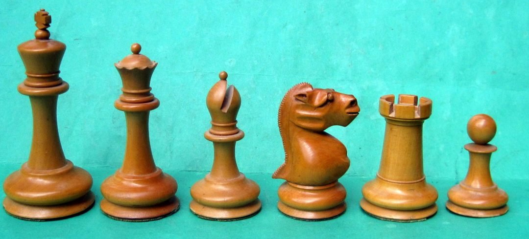 English Staunton chess set with 'gorilla' knights