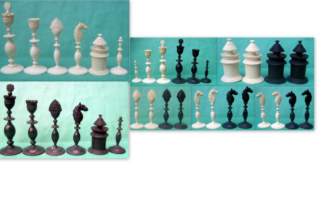 Visagapatam ivory and horn chess set