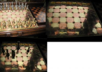 Metal Staunton chess set & board