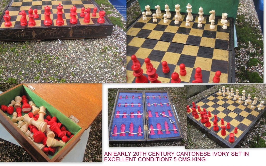 FOR SALE – Lovely Cantonese ivory chess set and board – early 20th Century