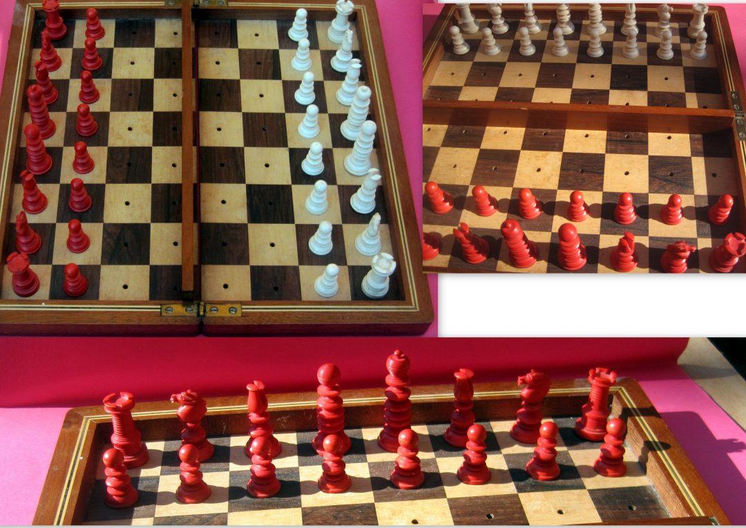 Late19th century English bone travel chess set