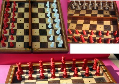 Late19th century English bone travel chess set