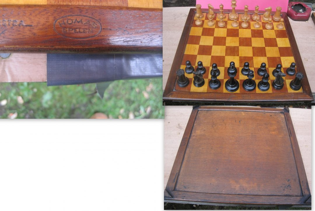 A late 19th century chess board stamped Homas Spellen