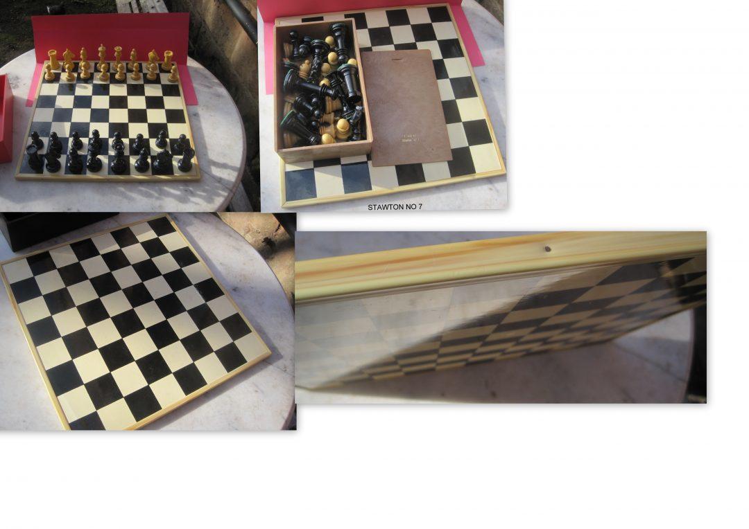 Spanish plastic chess set and inlaid chessboard