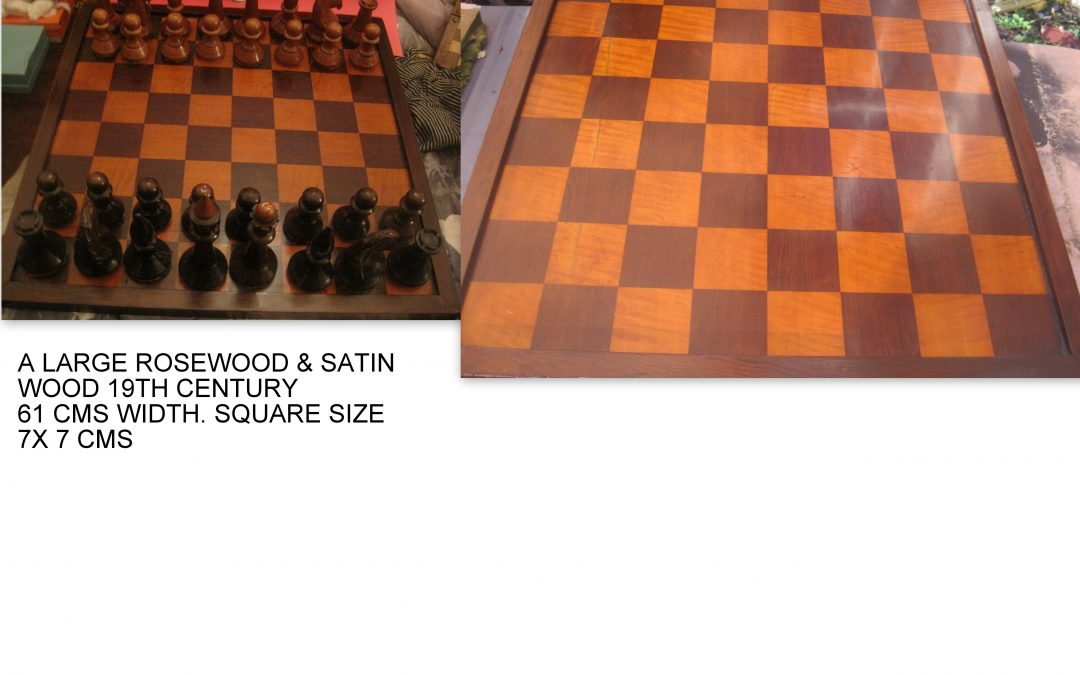 CLUB SIZED ANTIQUE CHESS BOARD – LATE 19TH CENTURY