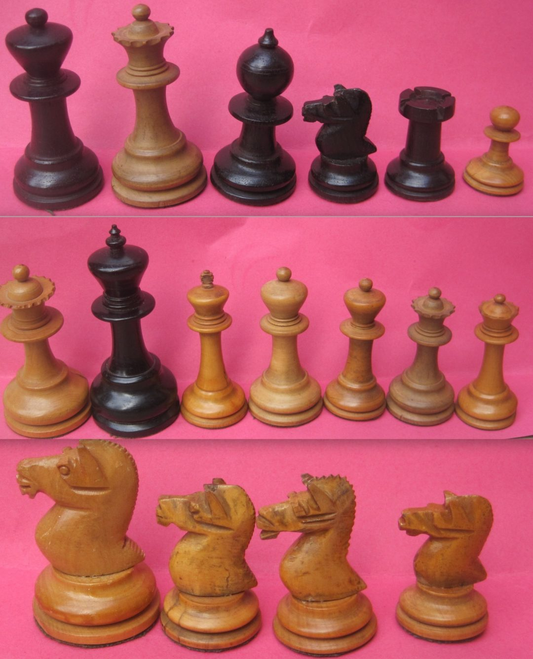 """Unknown English staunton chess set with """"shire horse"""" knights"""
