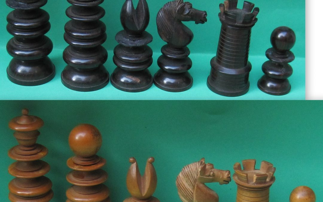 Antique English pattern chess set