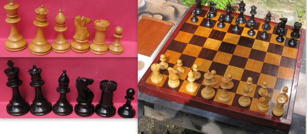 Early 20th century Staunton wooden chess set with glass eyed knights