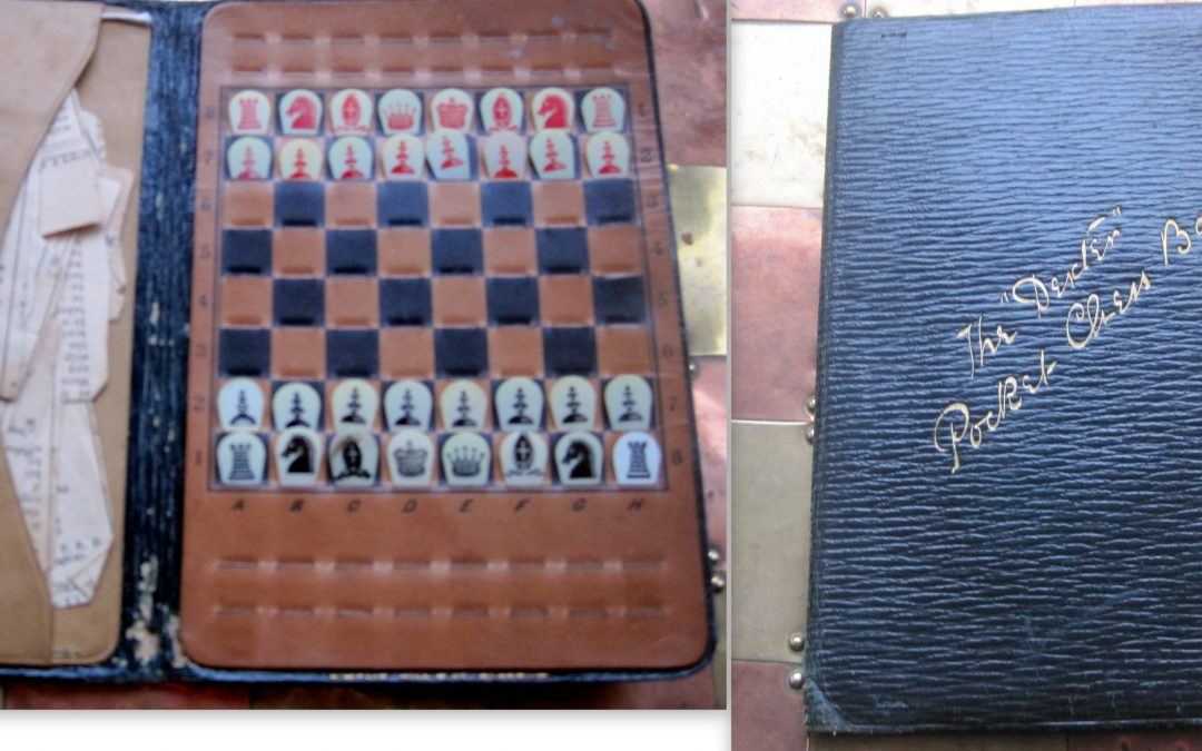 Antique Dexter's pocket wallet chess set