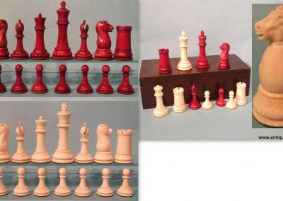 Late 19th century large bone Staunton chess set