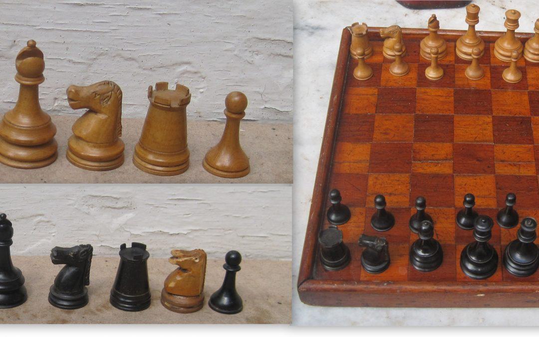 Unusual favourite/pet English Staunton chess set – c.19th century