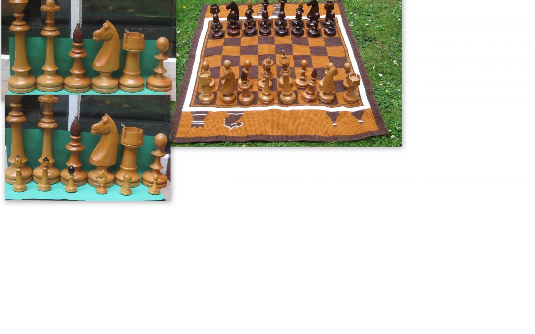 Vintage big cheque/Czech ? chess set