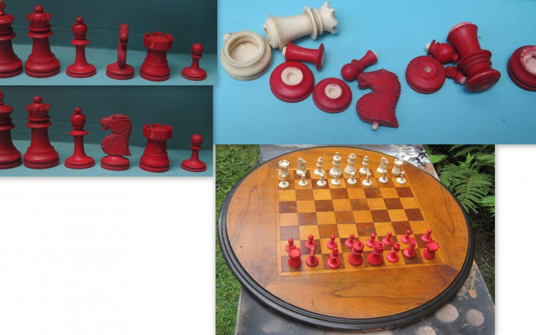 Chinese late 19th century Staunton chess set with extra ugly knights