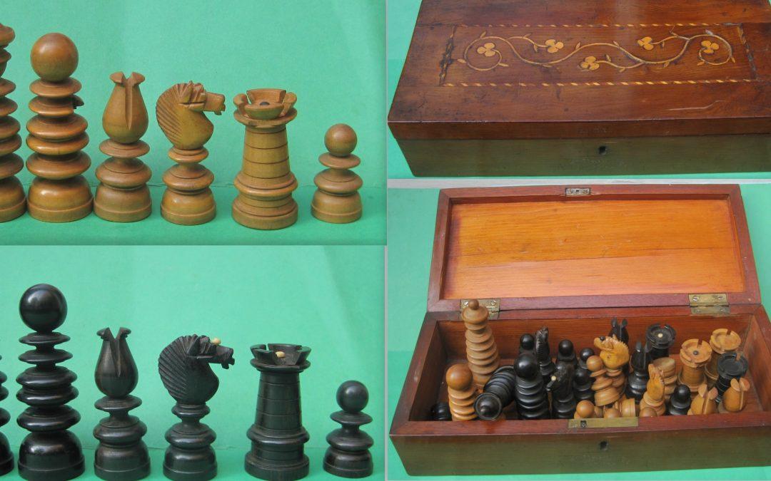 Late 19th century English pattern chess set and Killarneyware box