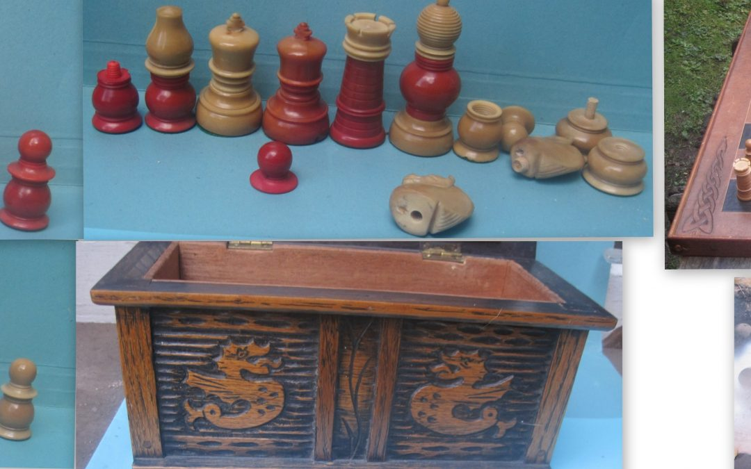A late19th century F H Ayres vegetable ivory English pattern chess set
